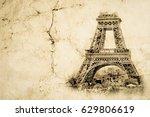 eiffel tower in paris closeup.... | Shutterstock . vector #629806619