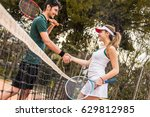 happy young couple of tennis...   Shutterstock . vector #629812985