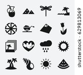 nature icon. set of 16 nature... | Shutterstock .eps vector #629813069