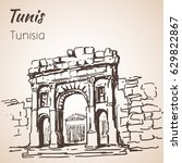 tunisia old architecture sketch.... | Shutterstock .eps vector #629822867