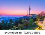 twilight seoul tower  in spring ... | Shutterstock . vector #629824091