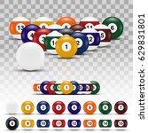 realistic 3d billiard balls... | Shutterstock .eps vector #629831801