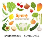 collection of seasonal fruits... | Shutterstock .eps vector #629832911