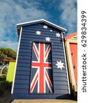 colourful bathing boxes on... | Shutterstock . vector #629834399
