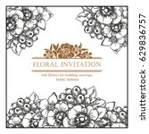 invitation with floral... | Shutterstock .eps vector #629836757