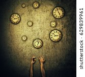 Small photo of Abstract idea as human hands stretched out and juggling with a lot of clocks set to different times. Wealth and success symbol. Hour perception and time travel concept.