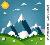 summer mountain landscape with... | Shutterstock .eps vector #629842505