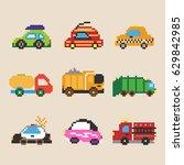set of different pixel cars... | Shutterstock .eps vector #629842985