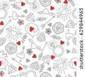 seamless vector background with ... | Shutterstock .eps vector #629844965