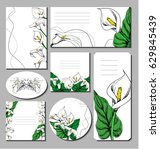 floral spring summer templates... | Shutterstock .eps vector #629845439