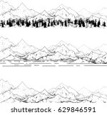 hand drawn contour mountain...   Shutterstock .eps vector #629846591
