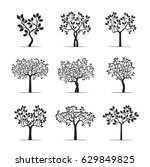 set black trees with leafs.... | Shutterstock .eps vector #629849825