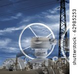 Photo-Composition about technology of an industrial plant. - stock photo