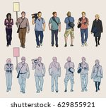isolated drawings of protesters ... | Shutterstock .eps vector #629855921