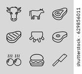 beef icons set. set of 9 beef... | Shutterstock .eps vector #629856011