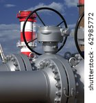 Close detail of pipe flanges and valves from a petrol refinery. - stock photo