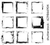black grunge frames texture for ... | Shutterstock .eps vector #629866904