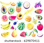 watercolor collection of fruits.... | Shutterstock . vector #629870411