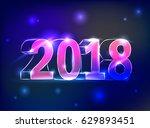 glowing neon figures 2018...   Shutterstock .eps vector #629893451