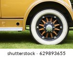 vintage wheel of classic car on ...   Shutterstock . vector #629893655