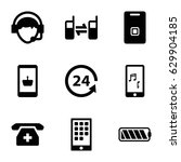 phone icons set. set of 9 phone ... | Shutterstock .eps vector #629904185