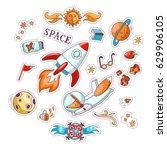 space vector cartoon sticker... | Shutterstock .eps vector #629906105