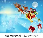 an illustration of santa in his ... | Shutterstock .eps vector #62991397