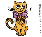 cute cartoon cat. vector... | Shutterstock .eps vector #629919209