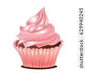 vintage sweet pink cupcake... | Shutterstock .eps vector #629940245