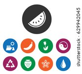 set of 9 natural filled icons... | Shutterstock .eps vector #629942045