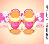 baby shower baby girl pink... | Shutterstock .eps vector #629944601