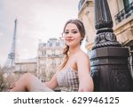 attractive girl in white dress... | Shutterstock . vector #629946125