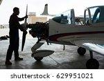 dark silhouette of aircraft...   Shutterstock . vector #629951021
