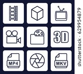 movie icon. set of 9 outline... | Shutterstock .eps vector #629954879