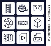 movie icon. set of 9 outline... | Shutterstock .eps vector #629956391