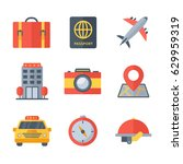 travel and holiday icons flat... | Shutterstock .eps vector #629959319
