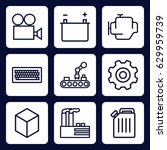industry icon. set of 9 outline ... | Shutterstock .eps vector #629959739