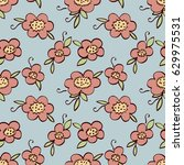 cute doodle seamless pattern of ... | Shutterstock .eps vector #629975531
