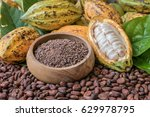 natural cocoa powder with cocoa ... | Shutterstock . vector #629978795