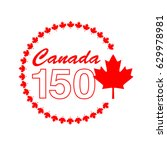 canada 150 graphic in circle... | Shutterstock .eps vector #629978981