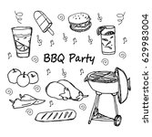 hand drawn doodle bbq party... | Shutterstock .eps vector #629983004