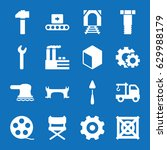 set of 16 industry filled icons ... | Shutterstock .eps vector #629988179