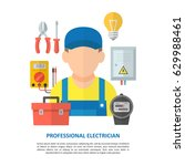 electrician worker with... | Shutterstock .eps vector #629988461