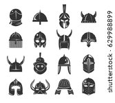 warrior helmets set of vector... | Shutterstock .eps vector #629988899