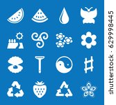 set of 16 natural filled icons... | Shutterstock .eps vector #629998445