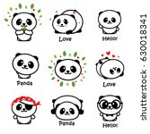 cute panda asian bear vector... | Shutterstock .eps vector #630018341