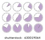 violet clock  five minutes or... | Shutterstock .eps vector #630019064