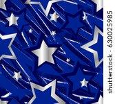 seamless stars pattern in blue...   Shutterstock .eps vector #630025985
