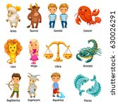 set with cartoon zodiac signs. | Shutterstock .eps vector #630026291