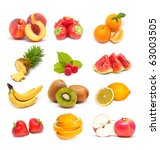 colorful healthy fruit collage | Shutterstock . vector #63003505